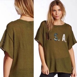 Wildfox Team USA Lake House Sweater Tee Small